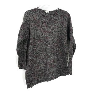 Pure Jill Asymmetrical Crewneck Marled Sweater